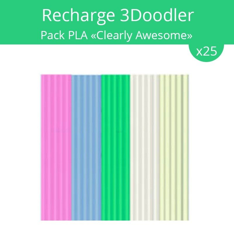 recharge 3doodler pack pla clearly awesome achat. Black Bedroom Furniture Sets. Home Design Ideas